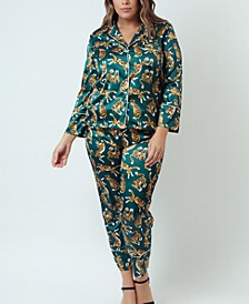 Simulated Silk Satin Long Sleeve Pajama Set