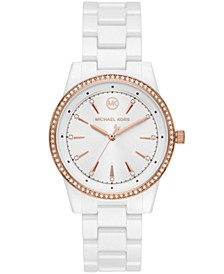 Ritz Three-Hand White Ceramic Watch