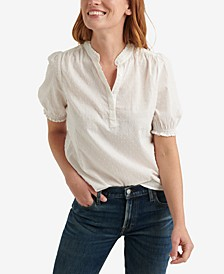 Clip Dot Ruffle-Trimmed Popover Top