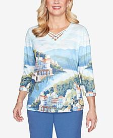 Petite Palo Alto Printed 3/4-Sleeve Top