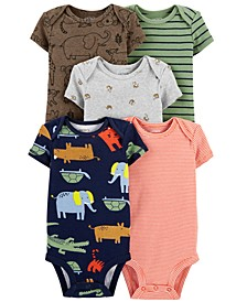 Baby Boys or Girls 5-Pack Animal Printed Cotton Bodysuits