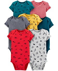 Baby Boys 7-Pack Printed Cotton Bodysuits