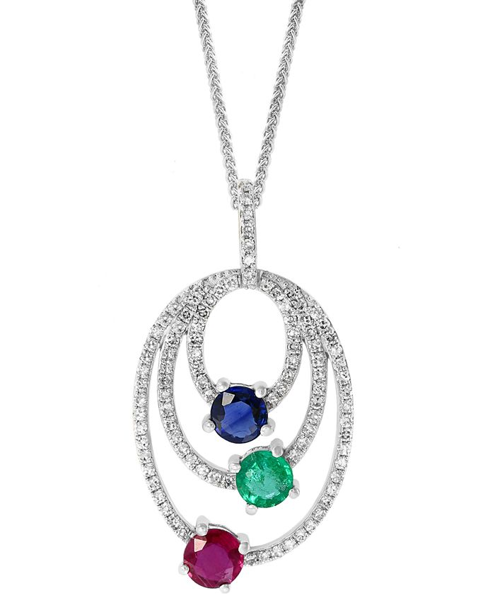 """LALI Jewels - Multi-Gemstone (1-1/4 ct. t.w.) Triple-Oval 18"""" Pendant Necklace in 14k White Gold"""