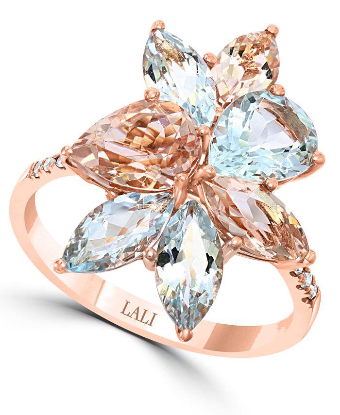 LALI Jewels - Aquamarine (2-5/8 ct. t.w.) & Morganite (2-1/4 ct. t.w.) Statement Ring 14k Rose Gold