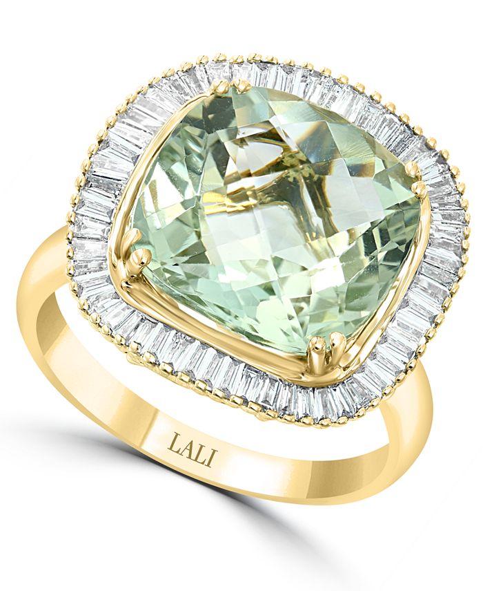 LALI Jewels - Green Amethyst (5-1/4 ct. t.w.) & Diamond (1/2 ct. t.w.) Statement Ring in 14k Gold