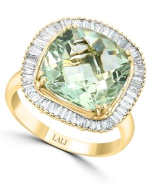 Green Amethyst (5-1/4 ct. t.w.) & Diamond (1/2 ct. t.w.) Statement Ring in 14k Gold