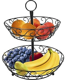 2 Tier Countertop Fruit Basket Holder Decorative Bowl Stand