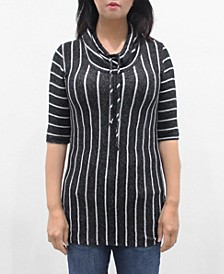 Women's Vertical Stripe 3/4 Sleeve Cowl Neck Drawstring Top