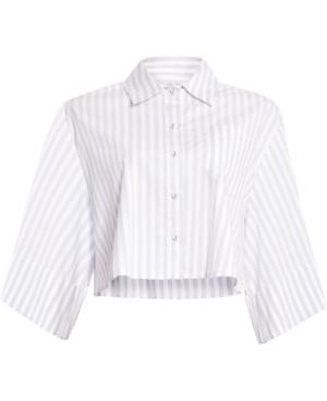 Bcbgmaxazria Pinstriped Boxy Shirt In White Combo