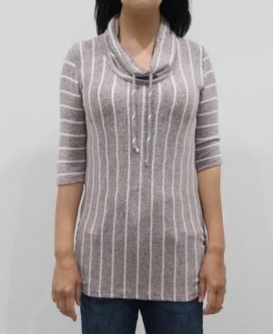 1804 Women's Vertical Stripe 3/4 Sleeve Cowl Neck Drawstring Top