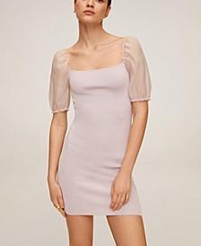 Puffed Sleeve Knit Dress