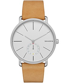 Men's Hagen Stainless Steel Multifunction Tan Leather Watch 40mm