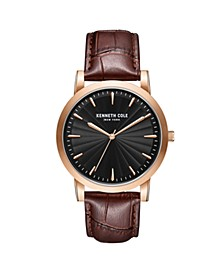 Men's 3 Hands Slim Rose-Gold plated Stainless Steel Watch on Brown Genuine Leather Strap, 44mm
