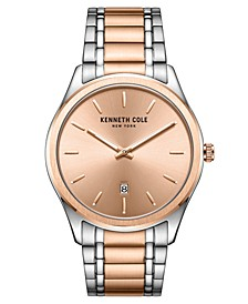 Men's 2 Hands Date Two-Tone Stainless Steel Watch on Two-Tone Stainless Steel Bracelet, 41mm