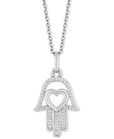 """Hamsa Hand & Heart Luck pendant (1/10 ct. t.w.) in Sterling Silver, 16"""" + 2"""" extender"""