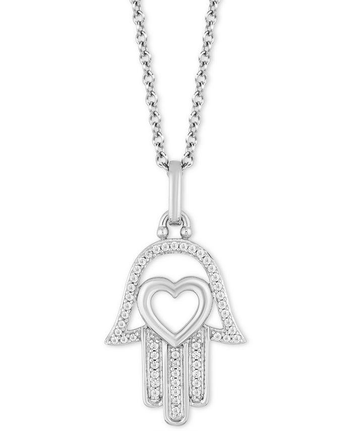"Hallmark Diamonds - Diamond Hamsa Hand & Heart Pendant Necklace (1/10 ct. t.w.) in Sterling Silver, 16"" + 2"" extender"