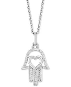 Hamsa Hand & Heart Luck pendant (1/10 ct. t.w.) in Sterling Silver