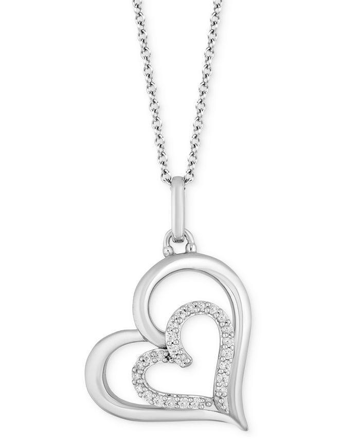 "Hallmark Diamonds - Diamond Double Heart Pendant Necklace (1/8 ct. t.w.) in Sterling Silver, 16"" + 2"" extender"