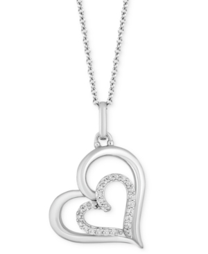 Double Heart Love pendant (1/8 ct. t.w.) in Sterling Silver