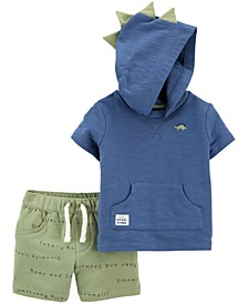 Baby Boys 2-Pc. Cotton Dino Hoodie & Shorts Set