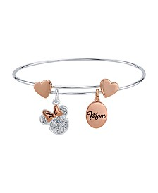 "Rose Gold Two-Tone Minnie Mouse Clear Crystal ""Mom"" Adjustable Bangle with Silver Plated Charms"