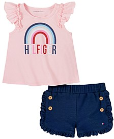 Baby Girls 2-Pc. Rainbow Flutter Top & Ruffled Shorts