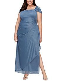Plus Size Draped Cold-Shoulder Dress