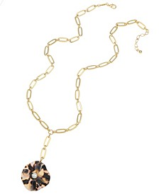 14K Gold-Plated Flower Lariat Necklace