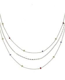 Rainbow Layered Rhodium Chain Necklace