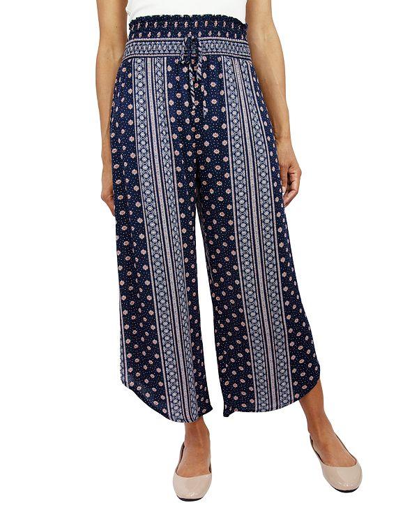 Be Bop Juniors' Smocked-Waist Cropped Pants