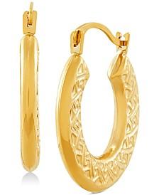 Greek Key Pattern Hoop Earrings in 14k Gold