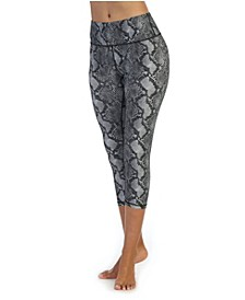 High Waist 3/4 Length Compression Snakeskin Leggings