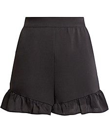 Ruffled-Hem Satin Shorts