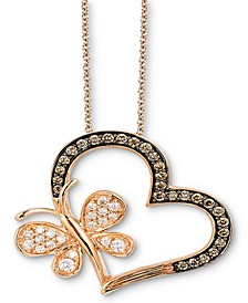 "Chocolatier® Chocolate Diamond (1/4 ct. t.w.) & Vanilla Diamond (1/5 ct. t.w.) Heart & Butterfly 18"" Pendant Necklace in 14k Rose Gold"