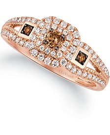 Chocolatier® Vanilla Diamond® (1/3 ct. t.w.) & Chocolate Diamonds® (1/6 ct. t.w.) Halo Ring in 14k Rose Gold