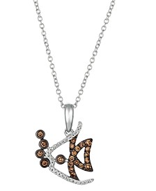 "Chocolate Diamond (1/6 ct. t.w.) & Vanilla Diamond (1/20 ct. t.w.) Fish 18"" Pendant Necklace in 14k White Gold"