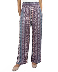 Juniors' Smocked-Waist Wide-Leg Pants