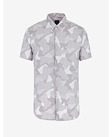 Men's Short Sleeve Geometric Camo Shirt