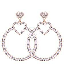 Gold-Tone Crystal Heart Front-Facing Drop Hoop Earrings