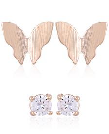 Gold-Tone 2-Pc. Set Butterfly & Crystal Stud Earrings