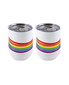 Double Wall 2 Pack of 12 oz White Wine Tumblers with Metallic Rainbow Wrap Decal