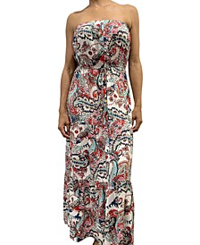Juniors' Strapless Tiered Maxi Dress