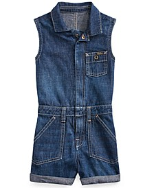 Toddler Girls Cotton Denim Flag Romper