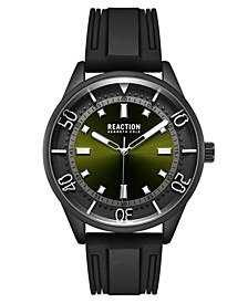 Kennth Cole Reaction Men's Dress Sport Round Black Silicon Strap Watch  46mm