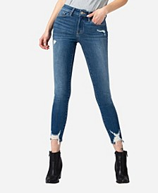 Women's Mid Rise Distressed Hem Skinny Ankle Jeans