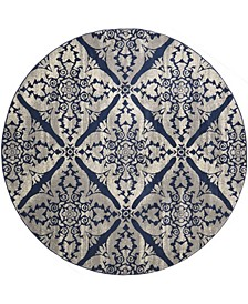 """Haven Hav12 Blue and Gray 7'10"""" x 7'10"""" Round Rug"""