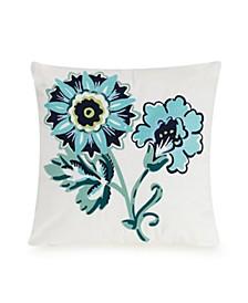 Cloud Vines Floral Embroidered Decorative Pillow