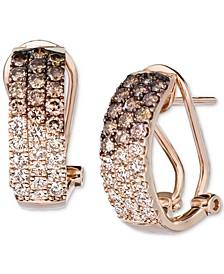 Ombré Chocolate Diamond (3/4 ct. t.w.) & Nude Diamond (1/2 ct. t.w.) Omega Hoop Earrings in 14k Rose Gold