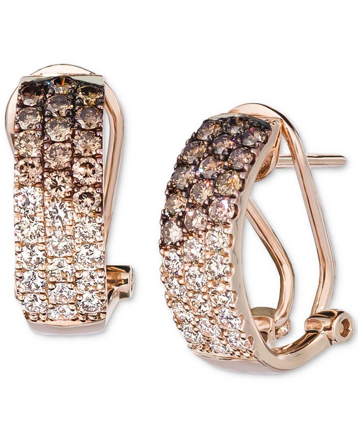 Le Vian - Ombré Chocolate Diamond (3/4 ct. t.w.) & Nude Diamond (1/2 ct. t.w.) Omega Hoop Earrings in 14k Rose Gold