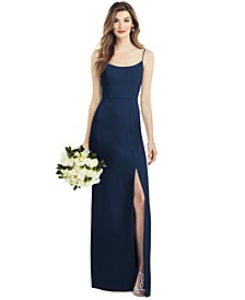 Crepe Side-Slit Gown